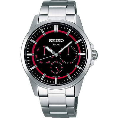 SEIKO Spirit 風行者太陽能全日曆腕錶(SBPV909J)-桃紅/黑/39mm