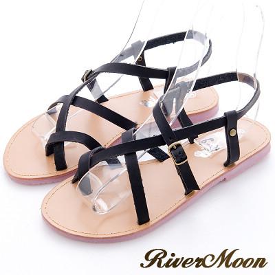 River-Moon簡約時尚皮革線條套趾平底涼鞋