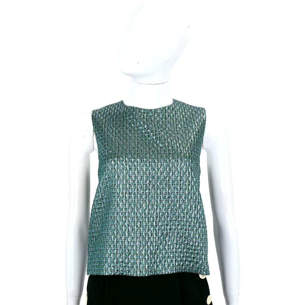 Max Mara 綠色網格挺版無袖上衣