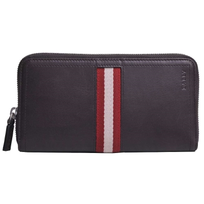 BALLY TASYO 經典紅白條紋織帶皮革拉鍊機能長夾(咖啡)