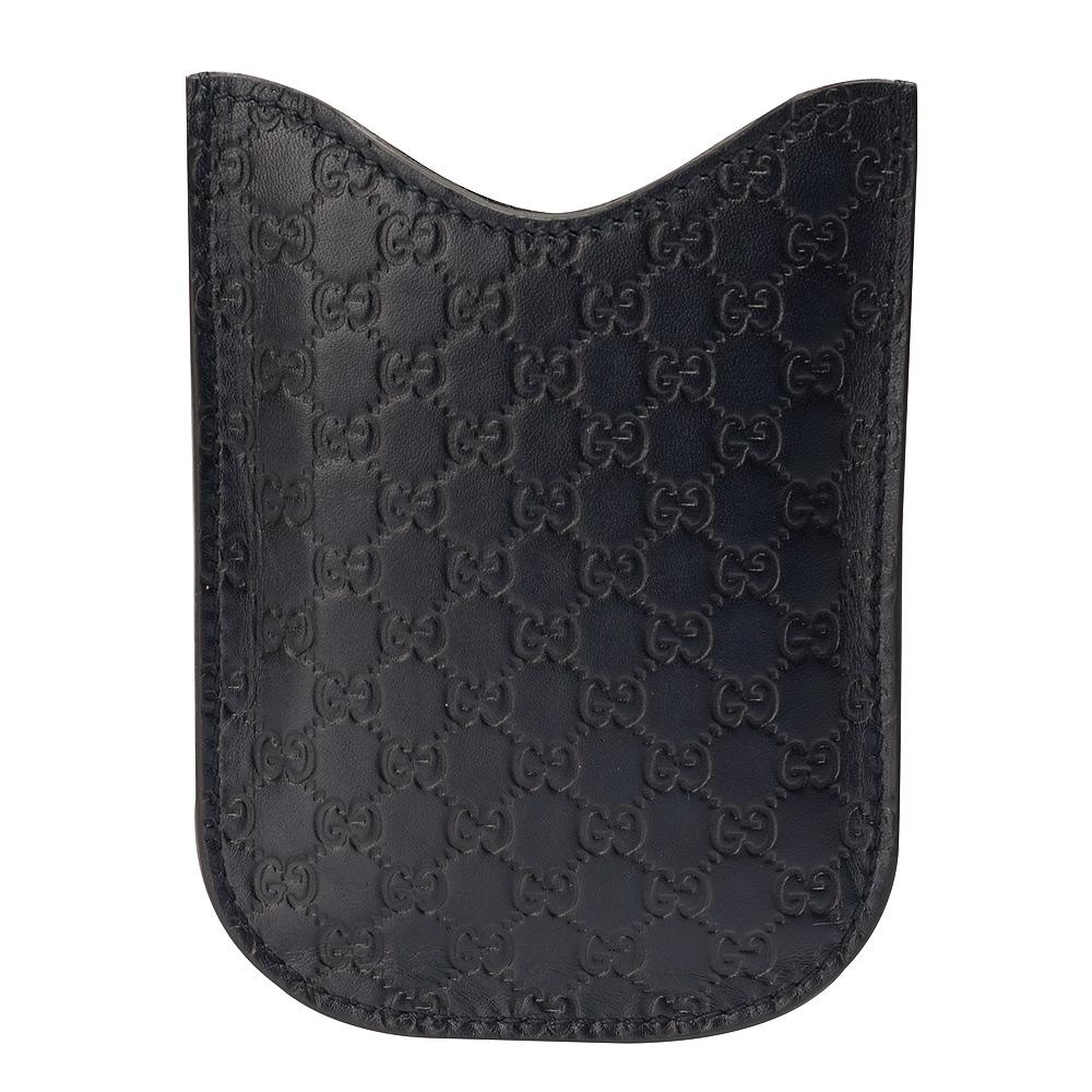 GUCCI 經典GG壓紋質感牛皮手機保護套(深藍)GUCCI