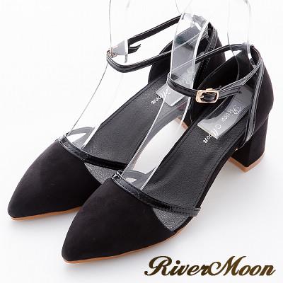 River-Moon跟鞋-優雅復古細絨線條簍空繞踝