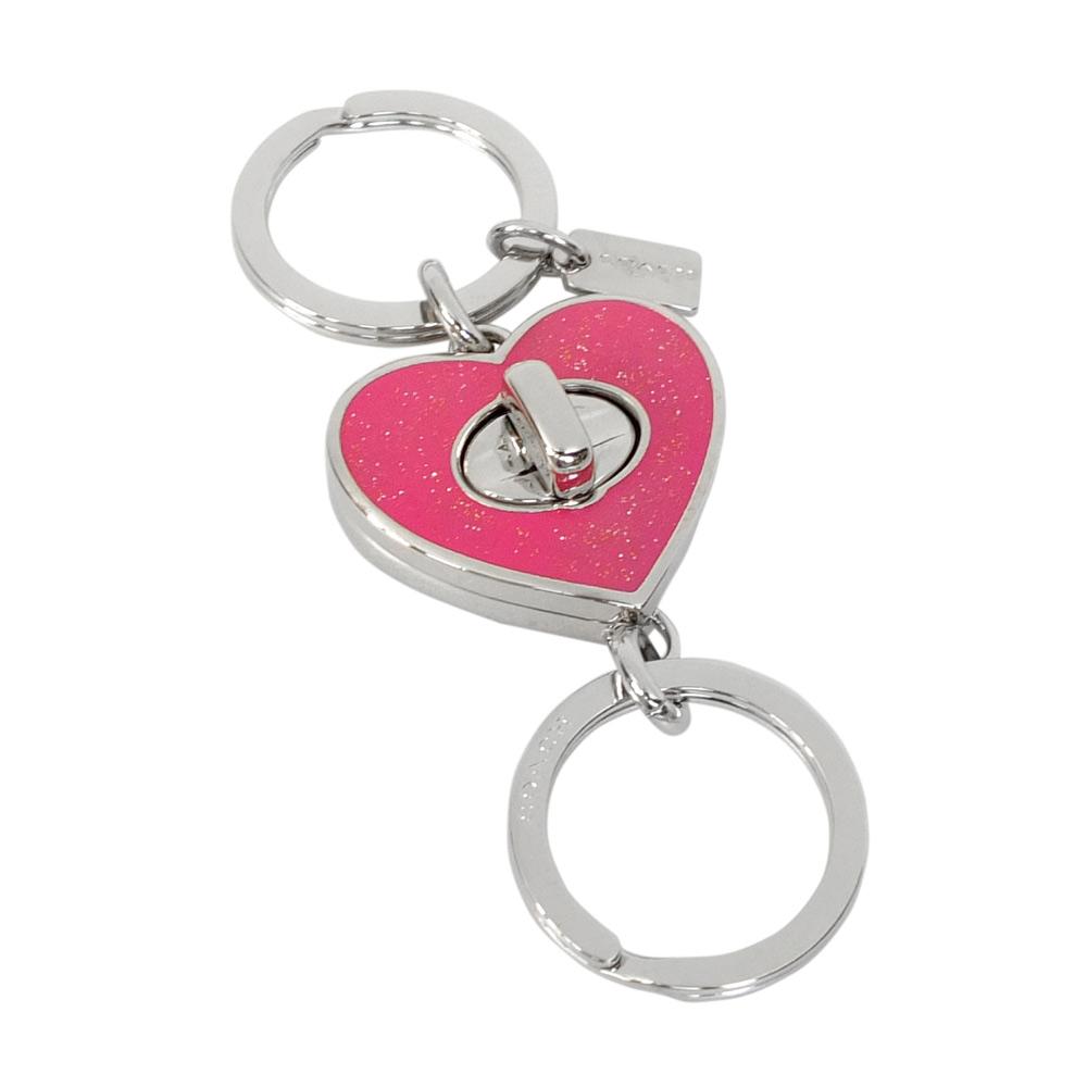 COACH淺桃珠光亮粉心型金屬旋釦二合一鑰匙圈