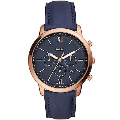 FOSSIL Neutra經典復刻計時真皮手錶(FS5454)-藍X玫瑰金/44mm