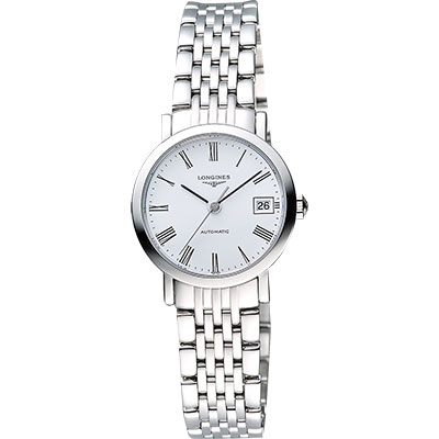 LONGINES Elegant Collection 羅馬時尚機械女錶-白/25mm L43094116