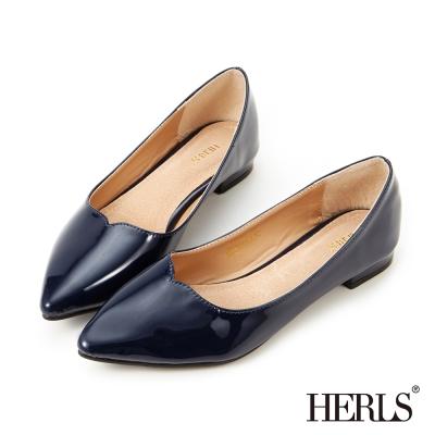 HERLS 內真皮流線亮面平底鞋-藍色