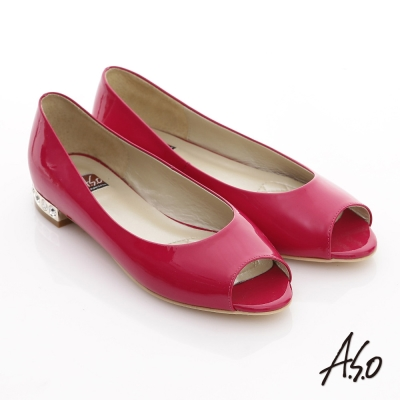 A.S.O 軟芯系列 鏡面牛皮貼鑽魚口鞋 桃