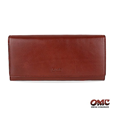 OMC 原皮系列-植鞣牛皮壓扣16卡透明窗雙隔層零錢長夾-咖啡色