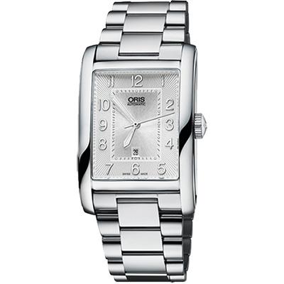 ORIS Rectangular 藝術時尚家機械腕錶-銀/28mm