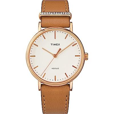 TIMEX 天美時 週末Fairfield系列 晶鑽時尚優雅手錶 米白x淺棕/37mm