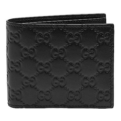 GUCCI 經典Guccissima GG壓紋牛皮三摺疊短夾(黑/ 12 卡)