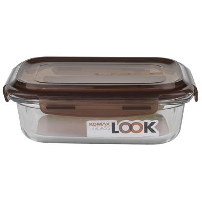 KOMAX-巧克力長形強化玻璃保鮮盒-880ml