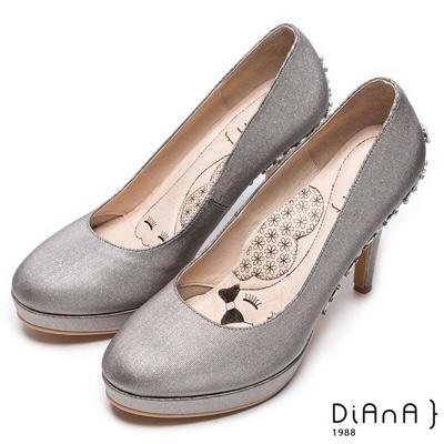DIANA 漫步雲端LADY款--閃閃動人星空感奢華亮鑽跟鞋-黑
