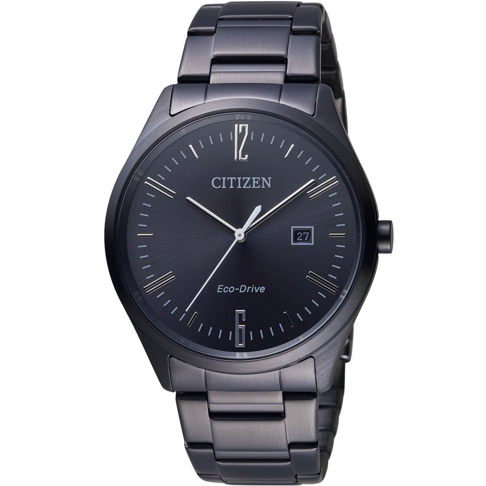 CITIZEN 星辰 簡約典雅光動能男錶(BM7355-82E)-鍍黑/39mm