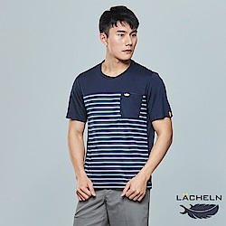 【LACHELN】經典條紋吸排圓領衫(L82MA07)