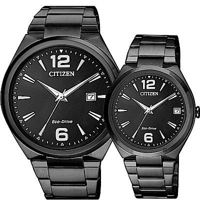 CITIZEN星辰 光動能簡約對錶-黑/41+35mm