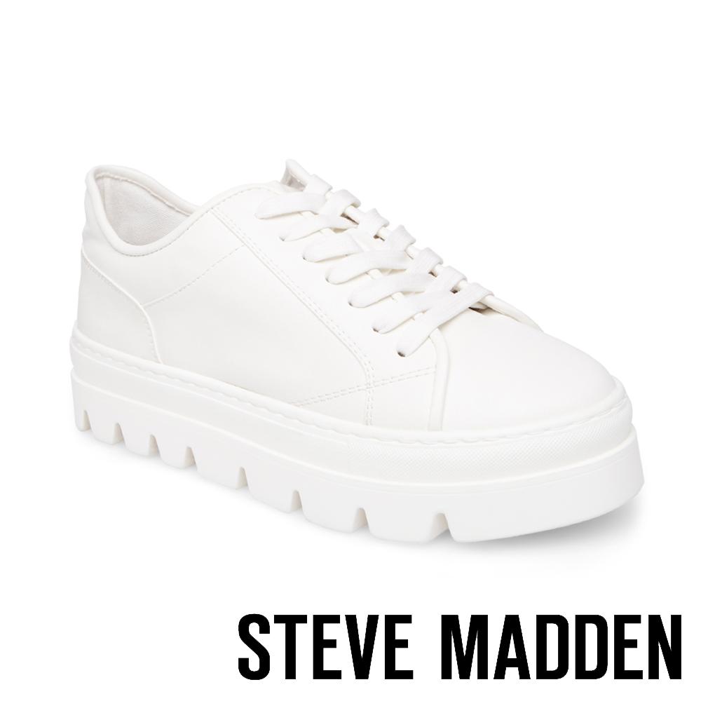 c2ef4ec77f2 STEVE MADDEN-KICKSTART 純色綁帶厚底鞋-白色 | Yahoo奇摩購物中心