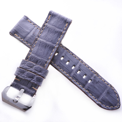 TED SU 太和錶帶 大堡礁Panerai 沛納海代用帶灰藍鱷米色線-24*24mm