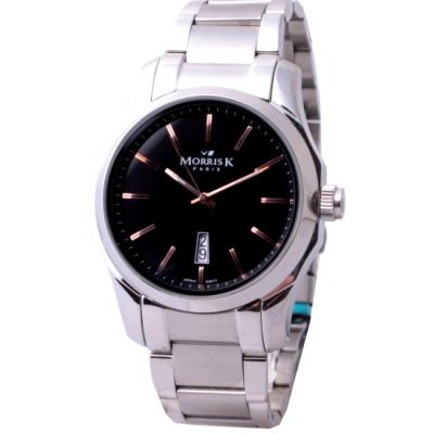 MORRIS K 舞可取代簡約時尚鋼帶腕錶-黑x玫瑰金/42mm