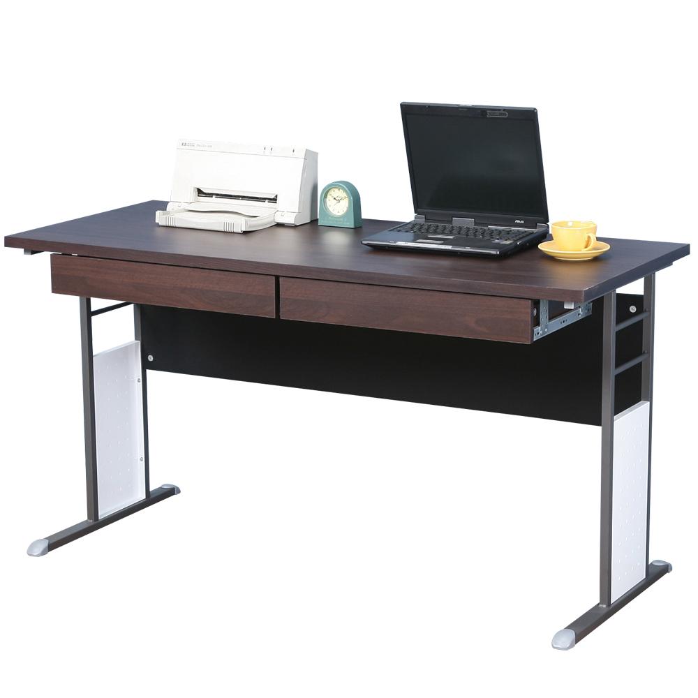 Homelike 巧思辦公桌 炫灰系列-胡桃加厚桌面140cm(附二抽屜)