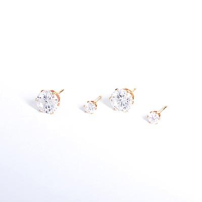 微醺禮物 正韓 低過敏 鋼針 鋼飾 閃亮鋯石 兩大一小 四個一組 耳針 耳環