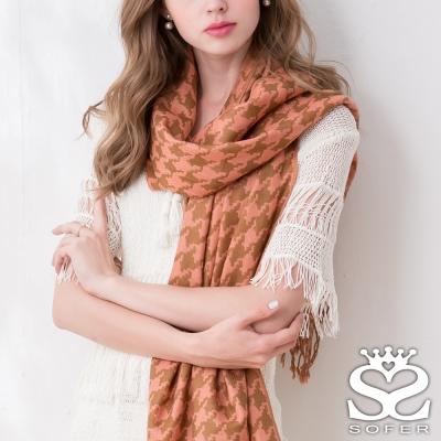 SOFER 千鳥格紋100%羊毛保暖披肩/圍巾 - 愛瑪橘