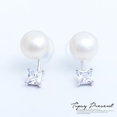 微醺禮物 鋯石 鍍白金 大珍珠+方鑽 耳環