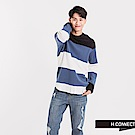 H:CONNECT 韓國品牌 男裝 - 條紋假兩件針織襯衫-藍