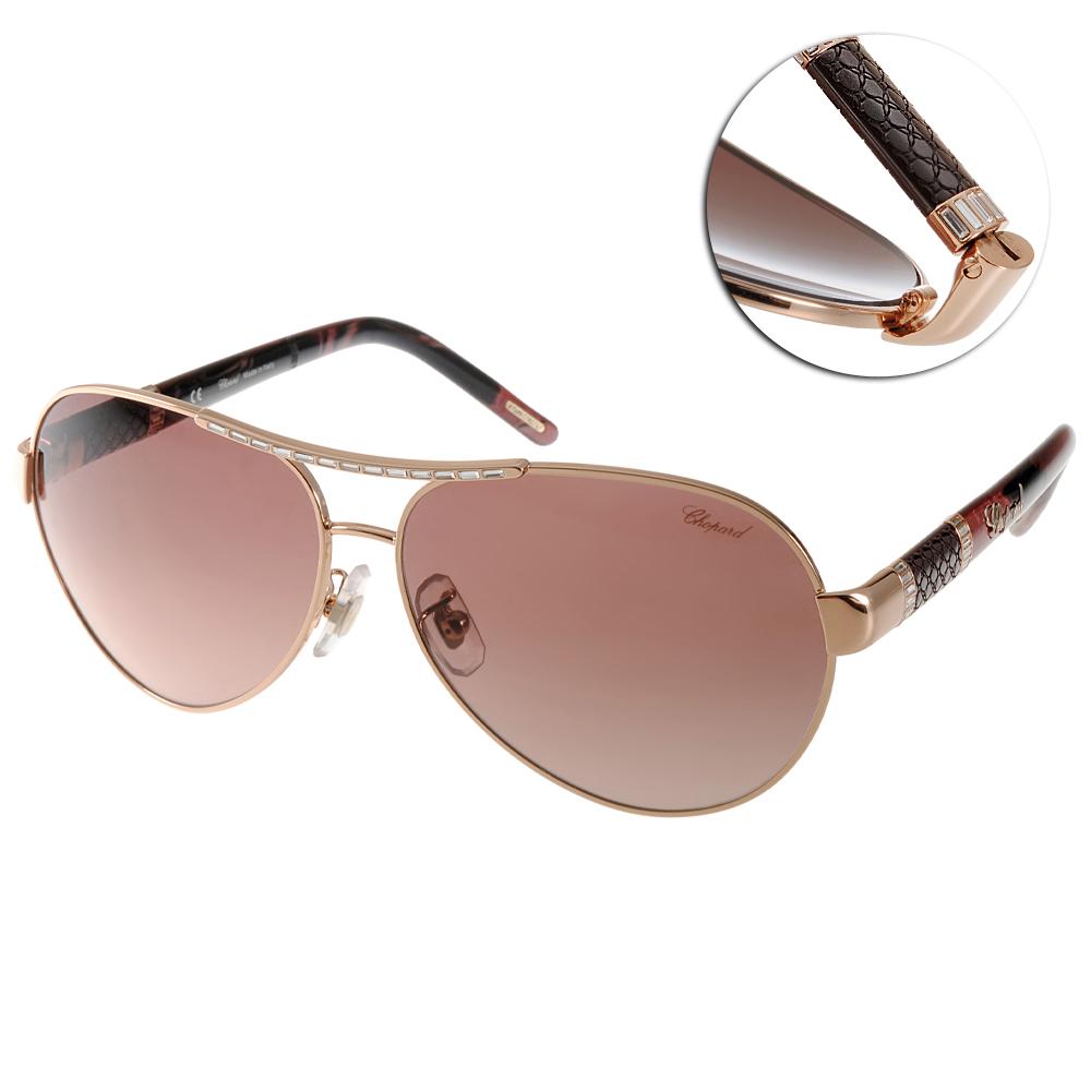 CHOPARD蕭邦太陽眼鏡 鑲鑽飛官系列/金-花紋棕#CPA59S 08FC