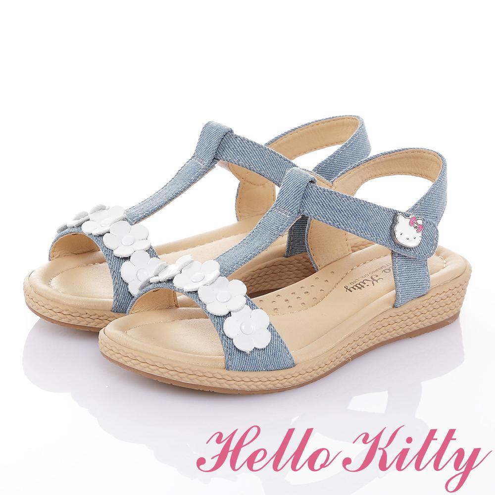 HelloKitty 牛仔布系列 手工鞋超纖減壓休閒涼鞋童鞋-水