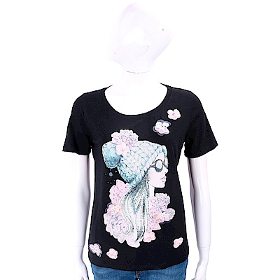 ANNA RACHELE 立體花細節鑽貼女孩黑色棉質T恤
