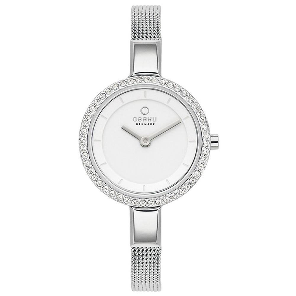OBAKU 小巧媛式晶鑽米蘭腕錶-銀色/27mm