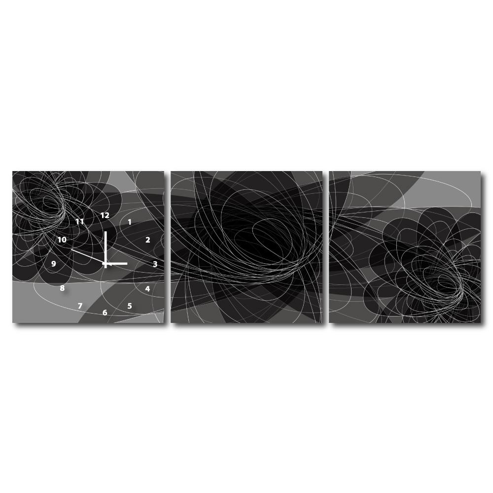 24mama掛畫 - 三聯式無框藝術掛畫時鐘-黑蝶隱耀40x40cm