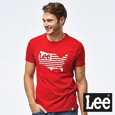 Lee 美國地圖LOGO短袖圓領TEE-男款-紅