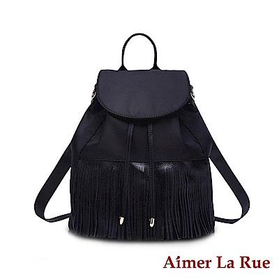 Aimer La Rue 裙擺飄曳流蘇真皮尼龍後背包(黑色)