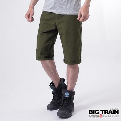 BIG TRAIN BT經典斜紋短褲-男-軍綠