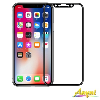 Auyni Apple iPhone X (5.8吋)全屏3D滿版9H鋼化玻璃保...