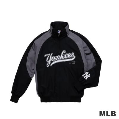 MLB-紐約洋基隊撞色立領內刷毛棒球外套-黑色(男)