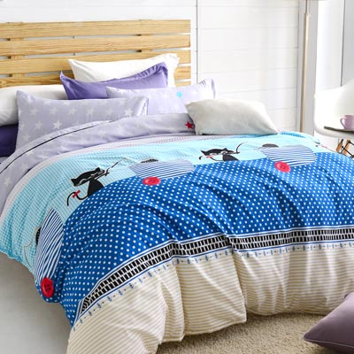 美夢元素 天鵝絨涼被床包組-雙人四件式 魔法小貓