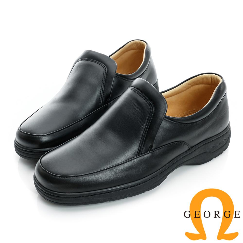 GEORGE-厚底素面真皮方頭鞋-黑色