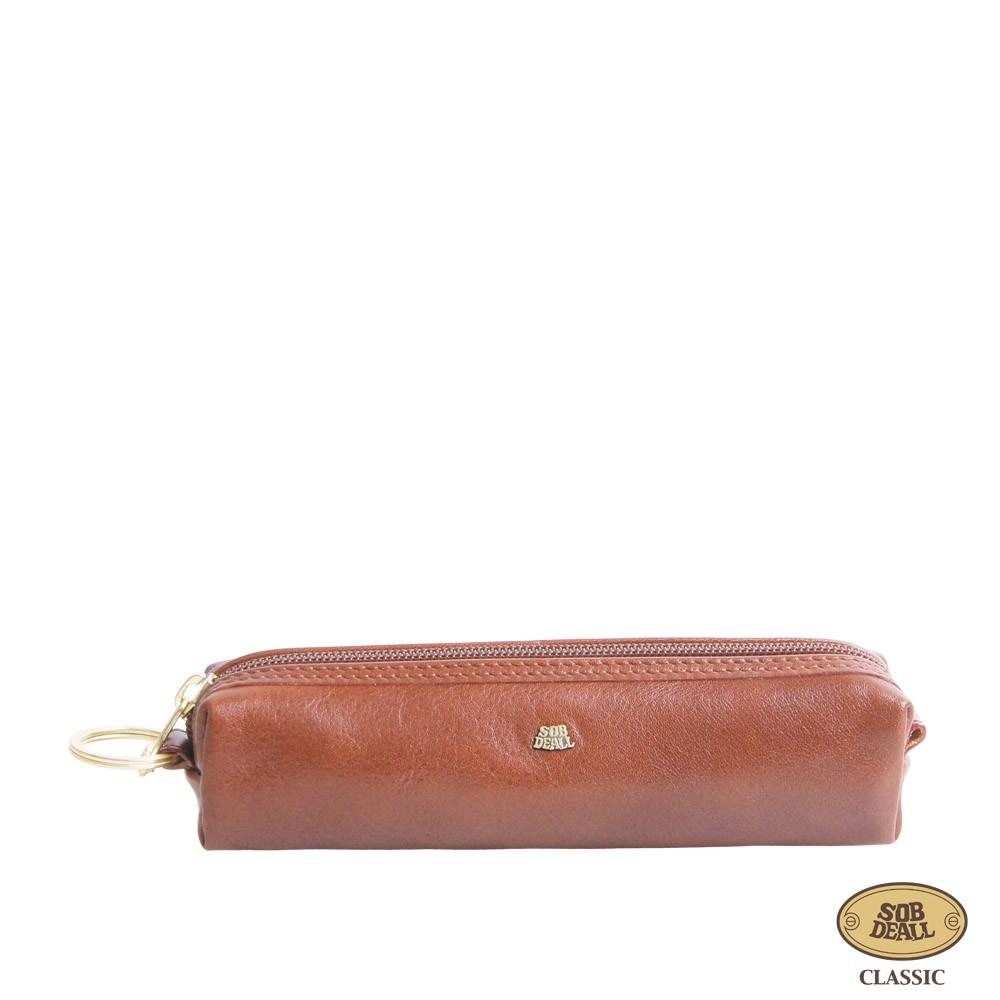 SOBDEALL 沙伯迪澳 - 真皮筆袋 簡約拉鍊式 經典咖啡