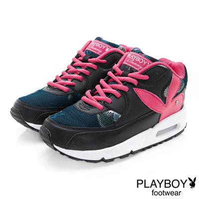 PLAYBOY 玩酷宣言 渲染印花氣墊運動鞋-黑桃(女)