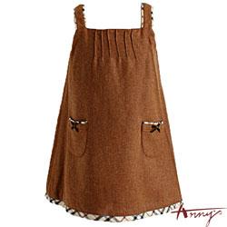 Anny可愛格紋雙口袋背心裙*0235咖啡