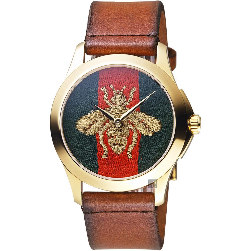 GUCCI古馳 G-Timeless 金色蜜蜂刺繡手錶-咖啡色錶帶/38mm