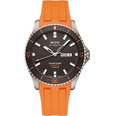 MIDO 美度 海洋之星 80動力【鈦】200米潛水機械錶-灰x橘/42mm