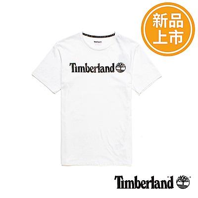 Timberland-男款白色品牌LOGO短T恤