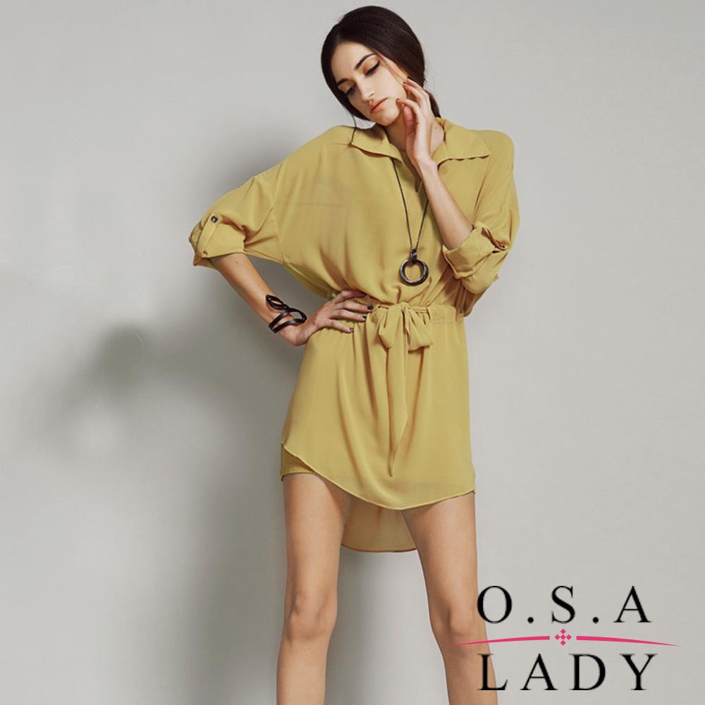 燕尾綁帶二件組雪紡洋裝 (共三色)-O.S.A LADY