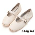 Hong Wa 環帶牛皮舒適休閒包鞋 - 米
