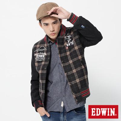 EDWIN-江戶勝限量-復古毛呢防寒外套-男款-黑咖