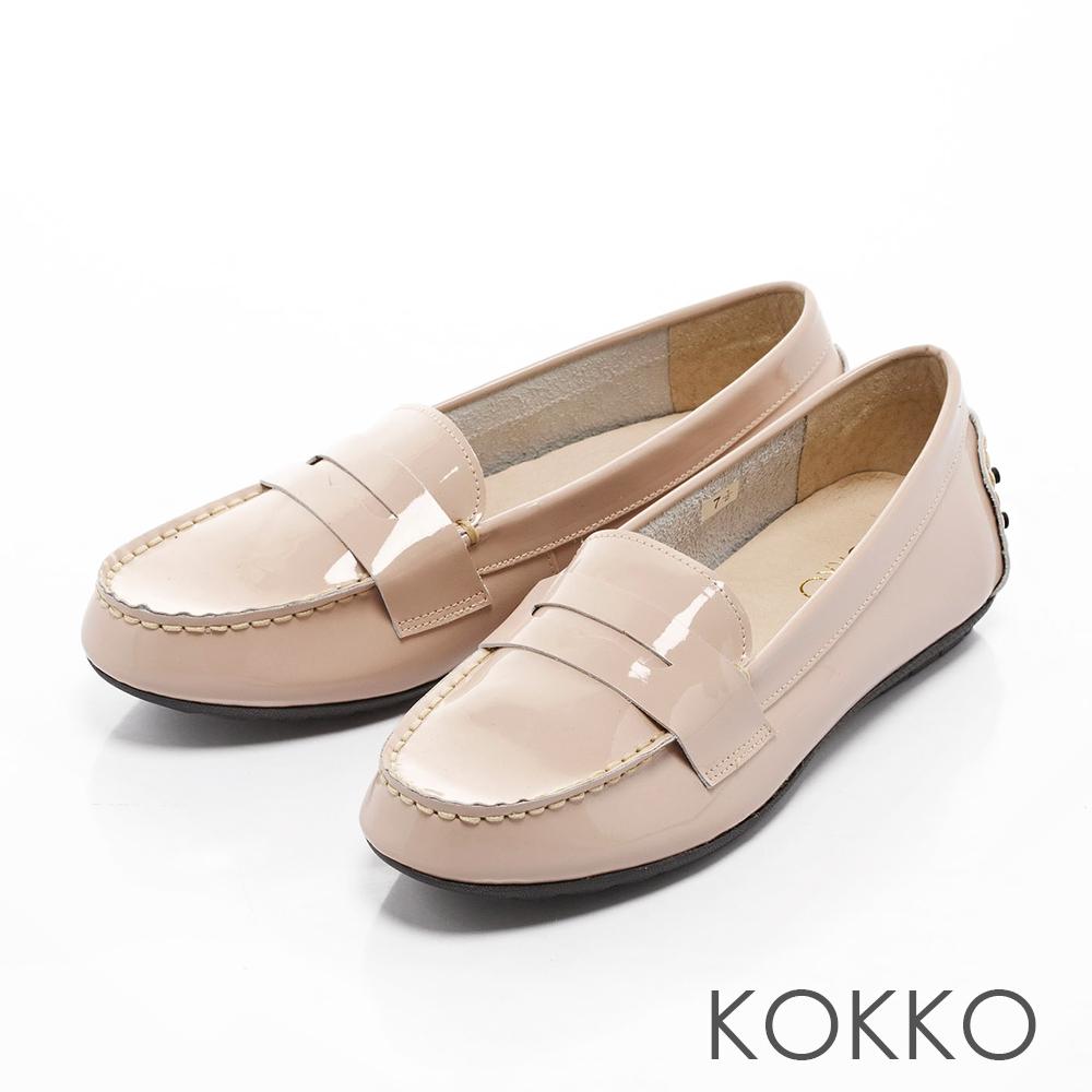 KOKKO-經典素面進口真皮莫卡辛便鞋-山茱萸粉